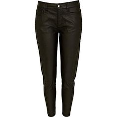 Black leather look crop trousers River Island Fashion, Cropped Trousers, Slacks, Boy Or Girl, Black Jeans, Black Leather, Leggings, Fashion Outfits, Legs