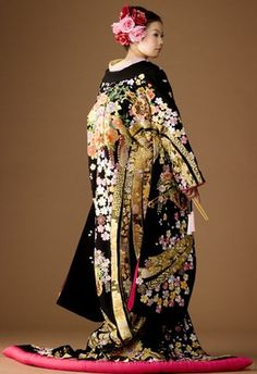 Colourful wedding kimono