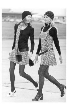 Gudrun and Sunny (von Furstenberg) in Falke Fashion. Cape Town 1970 Photo F.C.Gundlach