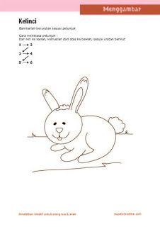 kerajinan anak, petunjuk langkah menggambar hewan (kelinci) untuk anak SD