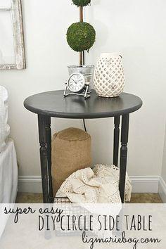 DIY Wood Circle Side Table