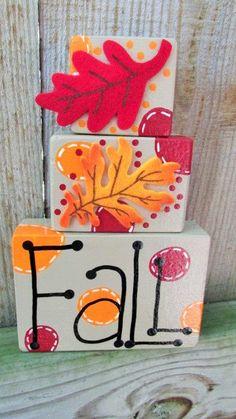 Fall Block Set Halloween Shelf Sitter by TheFlyButterFactory