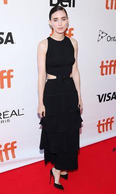 TIFF 2016 Best Dressed on the Red Carpet - Rooney Mara in a black cutout ruffle Proenza Schouler dress