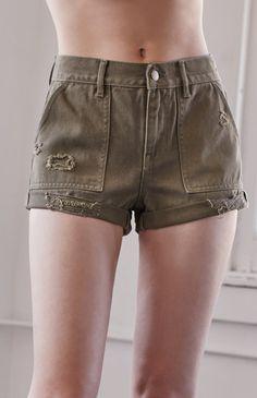 Olive Ripped Utility High Rise Denim Shorts