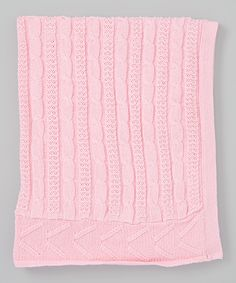 Look what I found on #zulily! Little Beginnings 32'' x 30'' Pink Cable-Knit Blanket by Little Beginnings #zulilyfinds