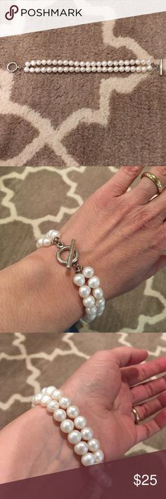 ✨HP✨Pearl Bracelet Freshwater Pearl Bracelet with Sterling Silver hardware. Purchased at Something Silver many years ago. Initially had three strands but one broke, thus two strands. The circle and bar closure are sterling but there is no stamp indicating so. A very pretty and classic piece. Something Silver Jewelry Bracelets