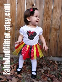 Fabric Scrap Tutu Shirt or Onesie & Hairbow Set by FaithAndGlitter, $35.00 PERFECT FOR A TRIP TO DISNEY!