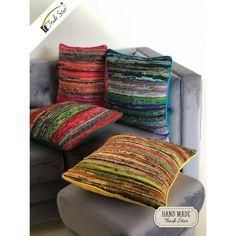 Rag Rug Pillow Case Hand Loomed Cushion Cover Recycled Fabric Sofa Cushion 4 Pcs #Handmade #ArtDeco Dorm Tapestry, Bohemian Tapestry, Cushions On Sofa, Throw Pillows, Psychedelic Tapestry, Recycled Fabric, Fabric Sofa, Vintage Walls, Woven Rug