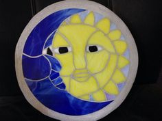 Sun &Moon stained glass mosaic garden stepping stone