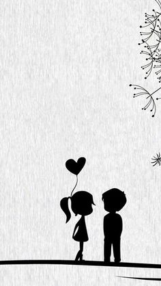 Black Cartoon Wallpaper Source by Cute Couple Cartoon, Cute Love Cartoons, Iphone 5s Wallpaper, Iphone 4s, Wallpaper Art, Cellphone Wallpaper, Iphone Wallpapers, Black And White Wallpaper Iphone, White Background Wallpaper