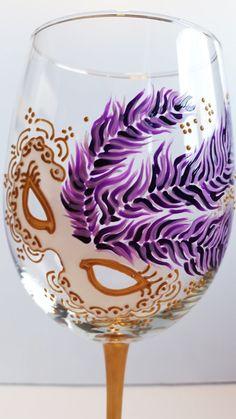 Hand Painted Mardi Gras 19oz Wine Glass - Purple/Gold Feathers. via Etsy