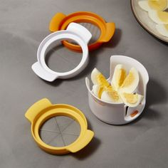 Free Shipping.  Shop 3-in-1 Egg Slicer.  Layered construction with three separate cutting discs allows you to cleanly slice, wedge or halve eggs, strawberries and mushrooms.  Compact size fits easily in the utensil drawer, cleans up in the dishwasher.