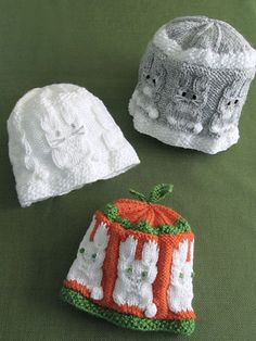 What's New - Baby Bunny Hats - aren't these little guys adorable - 3 sizes: baby thru child - KNITTING - intermediate