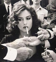Monica Bellucci with a cigarette