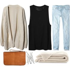 light wash boyfriend jeans, black tank top, beige cardigan and knit scarf