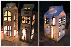 """I made these """"light houses"""" from used milk boxes. The little secret is that you have to make many little …"""