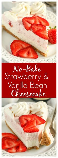 This No-Bake Strawberry Cheesecake from Live Well Bake Often starts with a homemade graham cracker crust and is topped with a no-bake vanilla bean cheesecake layer, strawberry cheesecake layer, and a homemade vanilla bean whipped cream! It is a great dessert to make in the spring! Try making your own cheesecake this weekend. #nobakecheesecake #strawberry Homemade Whipped Cream, Homemade Vanilla, Homemade Desserts, Best Dessert Recipes, Easy Desserts, Delicious Desserts, Vanilla Bean Cheesecake, Strawberry Cheesecake, Cheesecake Recipes