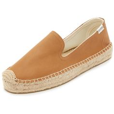 Soludos Platform Leather Espadrilles ($99) ❤ liked on Polyvore featuring shoes, sandals, soludos espadrilles, tan platform sandals, espadrille shoes, espadrille sandals and tan leather sandals