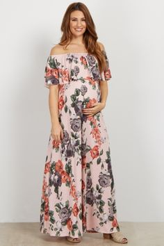 Light Blue Rose Off Shoulder Maternity Maxi Dress