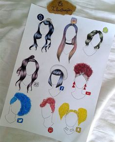 Which Social Media Hairstyle is Best? Art Drawings Sketches, Disney Drawings, Cute Drawings, Bild Girls, Social Media Art, Fashion Design Drawings, Drawing Clothes, How To Draw Hair, Pencil Art
