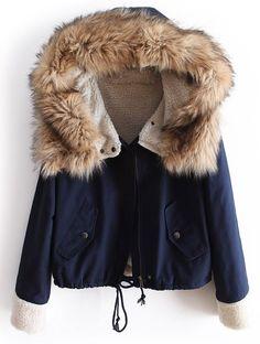 Mantel mit Pelz-Kapuze und Kordelzug, marineblau 32.22