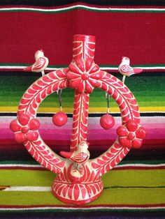 Vintage Hand Painted Mexican Tree of Life Candle Holder Folk Art from Mexico | eBay