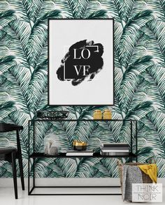 15 % Green Watercolor Leaves Removable by ThinkNoirWallpaper