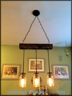 Industrial Furniture Chandelier steampunk Mason jar -  bar pool table light. $189. Completed and ready to ship.