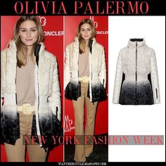 Olivia Palermo in ivory and black ombre fur puffer jacket and camel flared pants