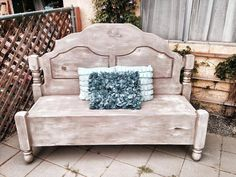Upcycled Vintage Headboard/Footboard bench by BambooserieVintage, $225.00