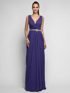 TS Couture® Formal Evening / Prom / Military Ball Dress - Regency Plus Sizes / Petite Sheath/Column V-neck Sweep/Brush Train Chiffon - USD $89.99