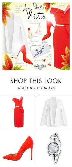"""Bright Spring Dress"" by monazor ❤ liked on Polyvore featuring Antonio Berardi, Barbara Bui, Gucci, Kate Spade, bold, bright and springdress"