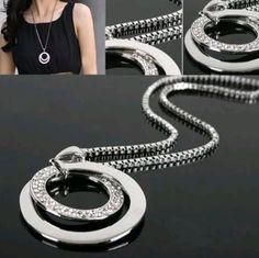 Simple and Fashionable. Circle Pendant NecklaceLong Chain NecklacePendant  JewelryChain JewelryCrystal RhinestoneRhinestone ... 7a8c328c092b