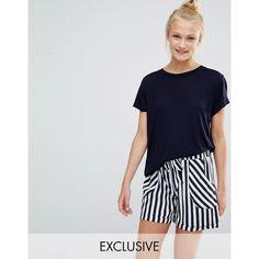 Chelsea Peers Striped Short & Tee Pyjama Set (91 SAR) ❤ liked on Polyvore featuring intimates, sleepwear, pajamas, blue, short sleeve jersey, striped jersey, blue striped pajamas, short pajama set and short sleeve pajama set