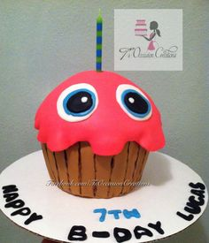Chica's cupcake from  Five nights at Freddy's makes a cute birthday cake.