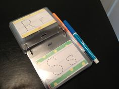 @Laura Lindqvist Dry erase traceable letters..Great for restaurants or on-the-go! @Amy Otterson Picar