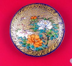 Large old Japanese Satsuma ceramic button - cobalt flowers butterfly gold