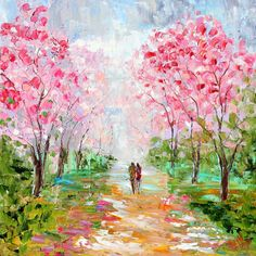 Original oil Love Blooms on canvas Landscape palette knife painting ABSTRACT texture fine art impressionism by Karen Tarlton. via Etsy.