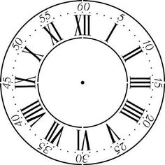 Create your own clock with our roman numeral clock face. Outer dimension is 18 in. Inner circle is in. Design is from the Cross Hall Clock at the Winterthur Museum in Wilmington, DE. This wall Clock Art, Diy Clock, Clock Face Printable, Clock Template, Gear Template, Pallet Clock, Do It Yourself Design, Free Stencils, Winterthur