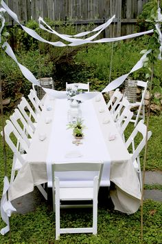 Kids' Table and Chairs.  Use painter's drop cloth as table cloth and runner of craft paper.