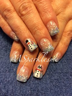 Magnificient Wedding Nail Art Ideas You Must Try 59 nageldesign muster Snowman Nail Art, Xmas Nail Art, Cute Christmas Nails, Xmas Nails, Holiday Nails, Fun Nails, Christmas Christmas, Christmas Nail Art Designs, Winter Nail Designs