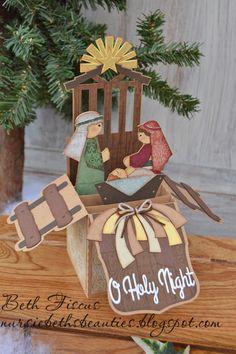 Beth's Beauties: Nativity Box Card using Totally Kraft and Totally Chocolate #trendytwine #svgattic