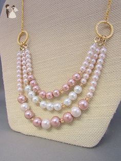 Handmade Three strand Swarovski Glass Pearls on Golden Rings Necklace - Wedding nacklaces (*Amazon Partner-Link)