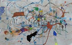 """Hvad har man venner til"". Acrylic painting on paper by Laila Cichos. In a black frame."