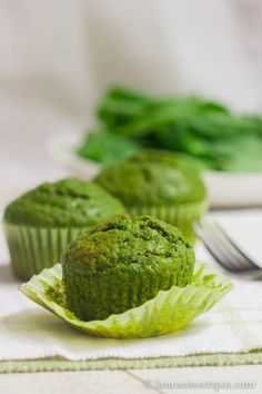 Spinach Muffins | http://laurassweetspot.com in the oven now.. did half spinach half frozen kale.... just what i had.