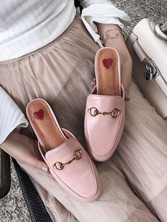 While Supplies Last Pink Leather Look Metal Decoration Chic Women Flat Slipper Sandals #elegantshoegirl #shoes #ankle  #boots #flats #fashions #womens