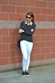 striped shirt, white pants, layers | fishbowl fashion