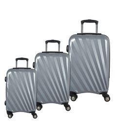 Love this Three-Piece Silver Swivel Wheel Luggage Set by McBrine, GreenPLUS on #zulily! #zulilyfinds