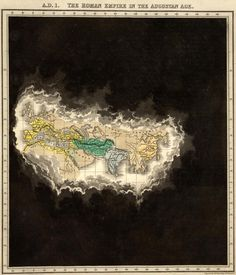"""""""An Historical Atlas; In a Series of Maps of the World as Known at Different Periods"""" in 1830. Rather than a strict timeline, Quin creates an entirely unique kind of time map series by using 21 maps that show progressively receding cloud borders to indicate the expansion of geographical knowledge over time."""