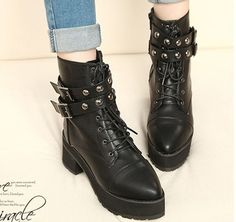 833544a26e39c Punk Gothic Womens Buckle Rivet Chunky Heels Platform Lace Up Ankle Boots  Shoes